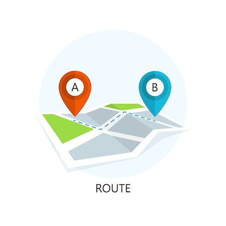 Route Icon. Flat Design. Isolated Illustration. Stock Photo - Budget Royalty-Free & Subscription, Code: 400-08198912