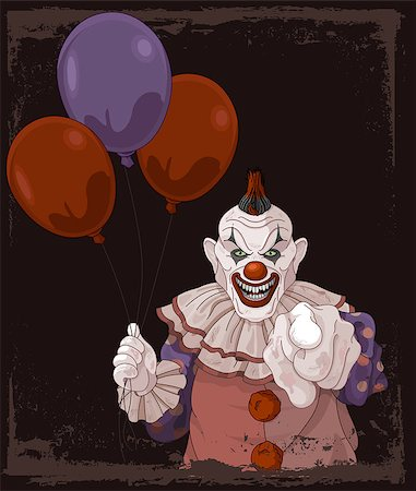 The scary clown holds balloons Stock Photo - Budget Royalty-Free & Subscription, Code: 400-08199683
