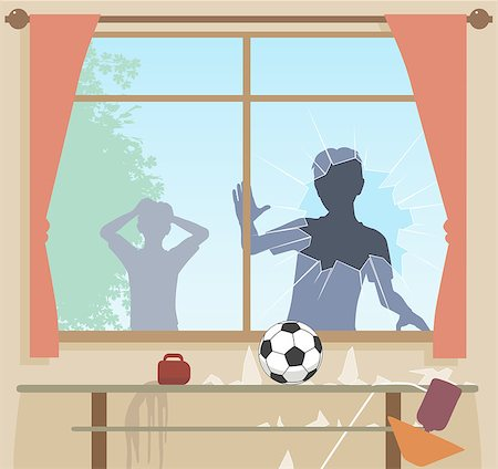 EPS8 editable vector illustration of boys breaking a window with a football Stock Photo - Budget Royalty-Free & Subscription, Code: 400-08199960