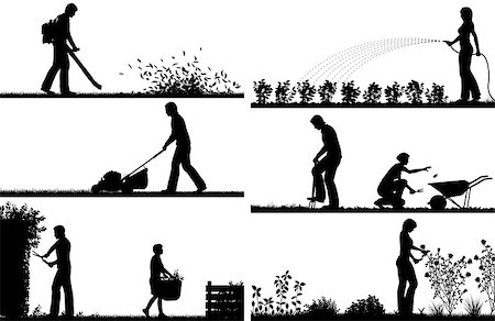 Set of eps8 editable vector silhouette foregrounds of people gardening with all figures as separate objects Stock Photo - Budget Royalty-Free & Subscription, Code: 400-08190251