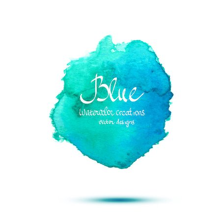 spot paint - Blue watercolor vector banner. Simple arts design Stock Photo - Budget Royalty-Free & Subscription, Code: 400-08190918
