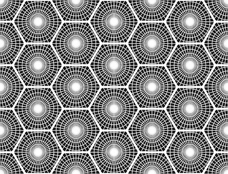simsearch:400-04476890,k - Design seamless monochrome hexagon pattern. Abstract grid textured background. Vector art. No gradient Stock Photo - Budget Royalty-Free & Subscription, Code: 400-08191482