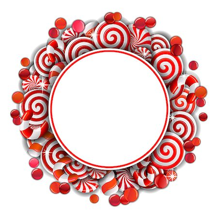 red circle lollipop - Sweet frame with red and white candies. Vector illustration Stock Photo - Budget Royalty-Free & Subscription, Code: 400-08200194