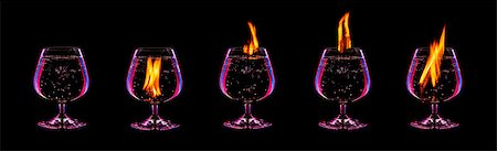 Fire cocktail collection isolated on a black background Stock Photo - Budget Royalty-Free & Subscription, Code: 400-08221803