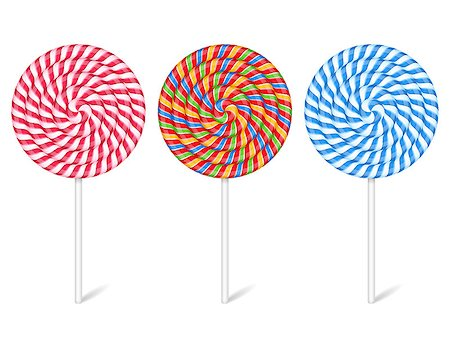simsearch:400-04344039,k - Three lollipops on white background, vector eps10 illustration Stock Photo - Budget Royalty-Free & Subscription, Code: 400-08223892