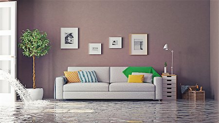 flooded homes - flooding in luxurious interior. 3d creative concept Stock Photo - Budget Royalty-Free & Subscription, Code: 400-08254050
