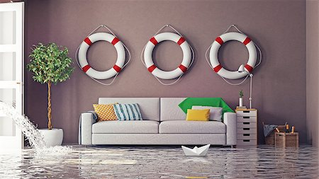 flooded homes - flooding in  interior. 3d creative concept Stock Photo - Budget Royalty-Free & Subscription, Code: 400-08254053