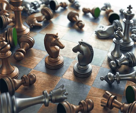 Dispute face to face in chess. Stock Photo - Budget Royalty-Free & Subscription, Code: 400-08254235