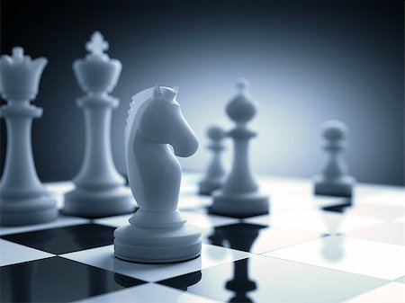 Chess piece in focus on the board. Stock Photo - Budget Royalty-Free & Subscription, Code: 400-08254623