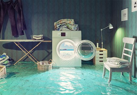 flooded homes - housework  dreams. 3d Creative concept. Stock Photo - Budget Royalty-Free & Subscription, Code: 400-08256126