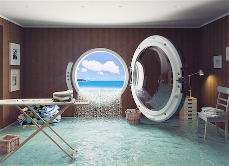 flooded homes - Housewife dreams. Creative concept. Stock Photo - Budget Royalty-Free & Subscription, Code: 400-08256128