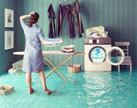 flooded homes - Housewife dreams. Creative concept. Photo combination Stock Photo - Budget Royalty-Free & Subscription, Code: 400-08256134