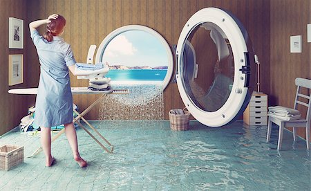 flooded homes - Housewife dreams. Creative concept. Photo combination Stock Photo - Budget Royalty-Free & Subscription, Code: 400-08256138