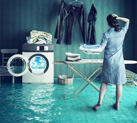 flooded homes - Housewife`s dreams. Creative concept. Photo combination Stock Photo - Budget Royalty-Free & Subscription, Code: 400-08256133