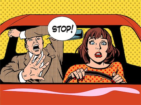 woman driver driving school panic calm retro style pop art. Car and transport Stock Photo - Budget Royalty-Free & Subscription, Code: 400-08256159
