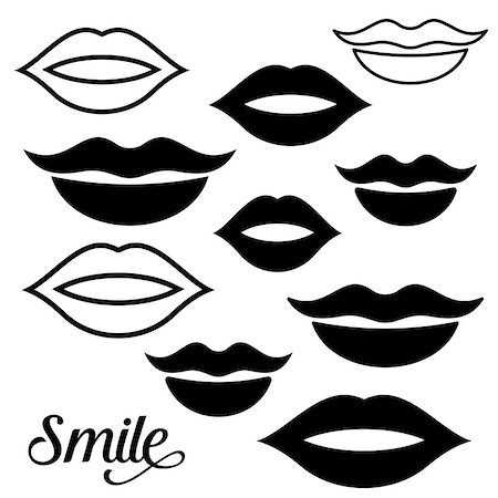 Black vector woman lips design elements collection Stock Photo - Budget Royalty-Free & Subscription, Code: 400-08257018