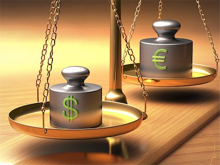 Scales of justice weighing two currencies. Clipping path included. Stock Photo - Budget Royalty-Free & Subscription, Code: 400-08257819