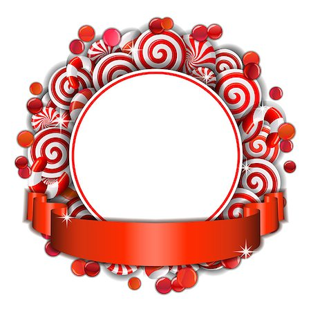 red circle lollipop - Sweet frame of red and white candies with red ribbon. Vector illustration Stock Photo - Budget Royalty-Free & Subscription, Code: 400-08258204