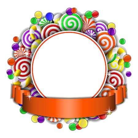 red circle lollipop - Sweet frame of red and white candies with orange ribbon. Vector illustration Stock Photo - Budget Royalty-Free & Subscription, Code: 400-08258203