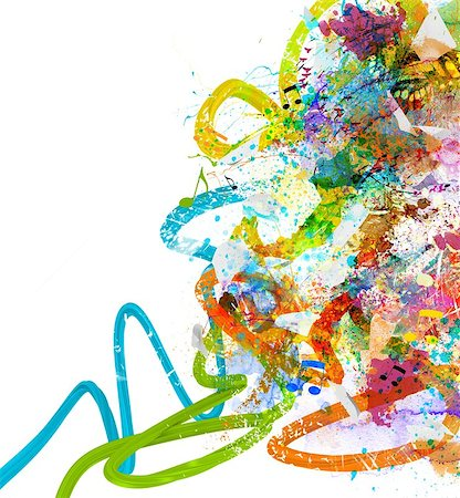 drop painting splash - Music background with colorful sketches and notes Stock Photo - Budget Royalty-Free & Subscription, Code: 400-08251034