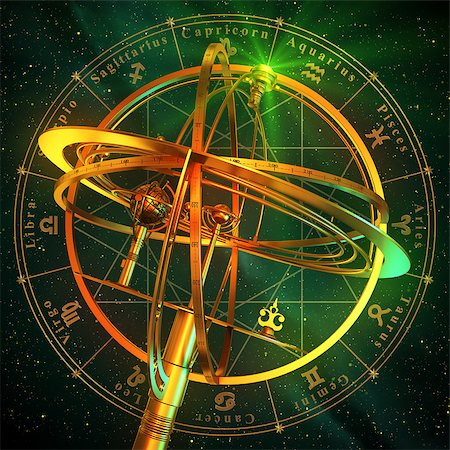 Armillary Sphere With Zodiac Symbols Over Green Background. 3D Scene. Stock Photo - Budget Royalty-Free & Subscription, Code: 400-08251624