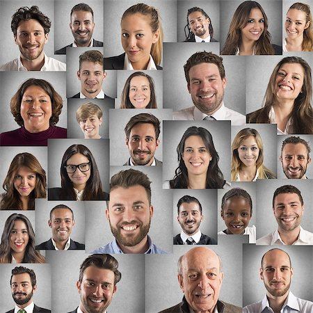 Collage of people portraits of smiling faces Stock Photo - Budget Royalty-Free & Subscription, Code: 400-08253258