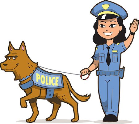 female police officer happy - K-9 Police Dog and Asian Female Police Officer Stock Photo - Budget Royalty-Free & Subscription, Code: 400-08264164
