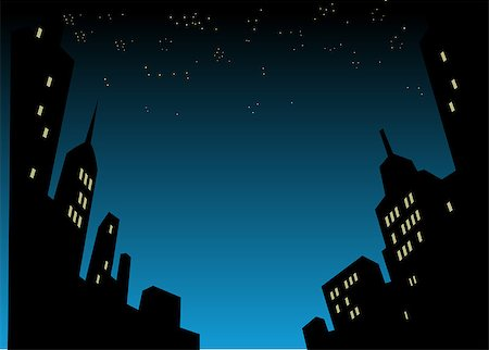Graphic Style Cartoon Night City Skyline Background Stock Photo - Budget Royalty-Free & Subscription, Code: 400-08264186