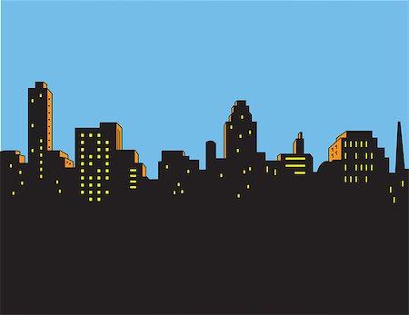 Retro Classic Comics Style City Skyline Stock Photo - Budget Royalty-Free & Subscription, Code: 400-08264222