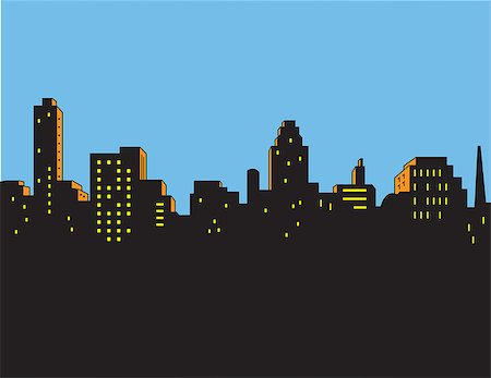 Retro Classic Comics Style City Skyline Stock Photo - Budget Royalty-Free & Subscription, Code: 400-08264222