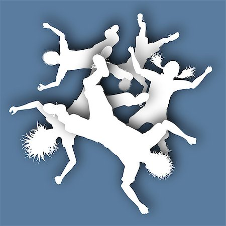 Illustrated cutout silhouettes of children falling from a blue sky Stock Photo - Budget Royalty-Free & Subscription, Code: 400-08266078