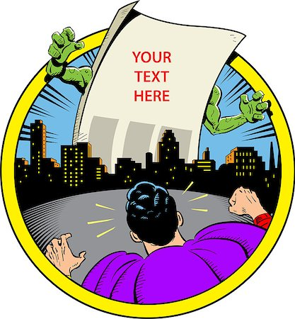 Classic Retro Superhero Ready to Fight Paper Monster Displaying Your Custom Message Over City Skyline Stock Photo - Budget Royalty-Free & Subscription, Code: 400-08266155