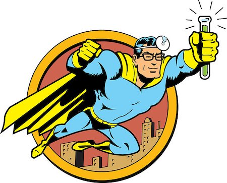 Retro Classic Superhero Doctor Medic Flying Over the City with Glasses and Vial of Cure Serum Antidote Stock Photo - Budget Royalty-Free & Subscription, Code: 400-08266152