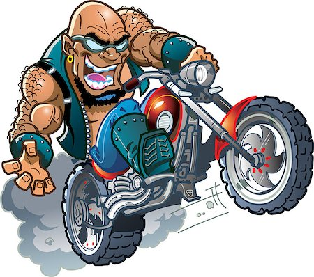 Wild Crazy Bald Smiling Biker Dude with Sunglasses on Motorcycle Stock Photo - Budget Royalty-Free & Subscription, Code: 400-08266185