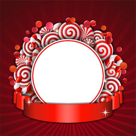 red circle lollipop - Sweet frame of red and white candies with red ribbon. Vector illustration Stock Photo - Budget Royalty-Free & Subscription, Code: 400-08260068