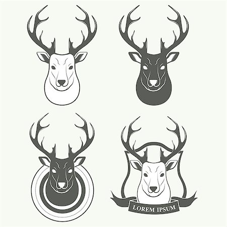 deer hunt - Deer silhouette standing on white background. Vector logo Illustration Stock Photo - Budget Royalty-Free & Subscription, Code: 400-08260125