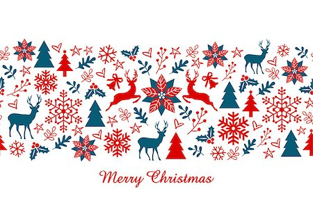 Christmas card, Xmas banner with seamless pattern, vector illustration Stock Photo - Budget Royalty-Free & Subscription, Code: 400-08260514