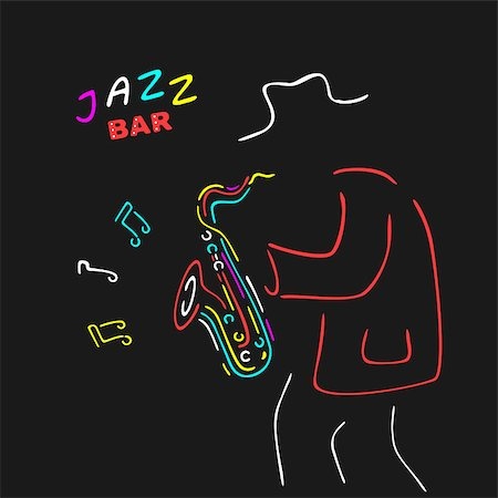 silhouette musical symbols - Neon Sign Saxophone Jazz eps 8 file format Stock Photo - Budget Royalty-Free & Subscription, Code: 400-08260579