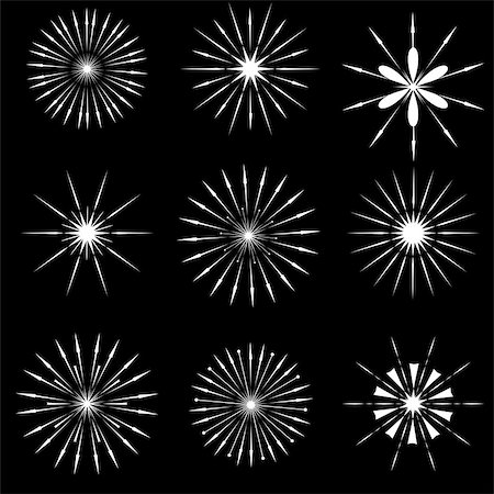 Set of Starbursts SYmbols Isolated on Black Background Stock Photo - Budget Royalty-Free & Subscription, Code: 400-08261087