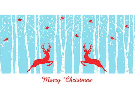 Reindeers in birch tree forest, seamless vector pattern, Christmas card Stock Photo - Budget Royalty-Free & Subscription, Code: 400-08261098