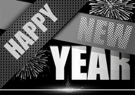 Happy New Year Greeting Card - Modern Black Illustration, Vector Stock Photo - Budget Royalty-Free & Subscription, Code: 400-08261363
