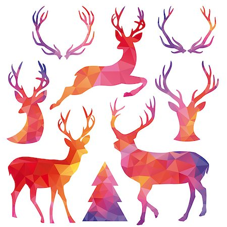 Christmas deer with low poly geometric pattern, set of vector design elements Stock Photo - Budget Royalty-Free & Subscription, Code: 400-08261420