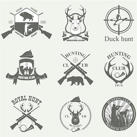 deer hunt - Set of vintage labels on hunting. Vector illustration Stock Photo - Budget Royalty-Free & Subscription, Code: 400-08261827