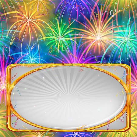 fireworks with yellow and green background - Holiday Background with Various Colorful Fireworks, Confetti, Streamers and Banner with Golden Frame. Eps10, Contains Transparencies. Vector Stock Photo - Budget Royalty-Free & Subscription, Code: 400-08261857