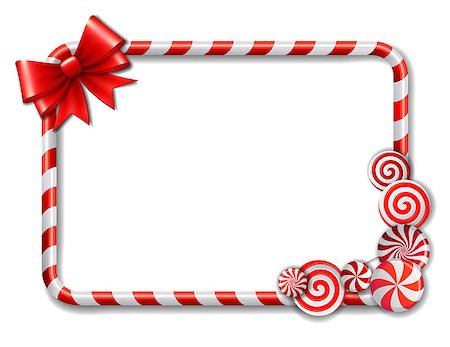 red circle lollipop - Frame made of candy cane, with red and white candies and red bow. Vector illustration Stock Photo - Budget Royalty-Free & Subscription, Code: 400-08262852