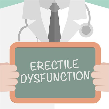 minimalistic illustration of a doctor holding a blackboard with Erectile Dysfunction text, eps10 vector Stock Photo - Budget Royalty-Free & Subscription, Code: 400-08263258