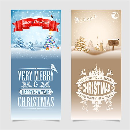 Christmas Banners with Tree, Gifts, Ribbon, Labels, Wood Sign, Santa and Bullfinch on Snowy background. Vector Template for Cover, Flyer, Brochure, Greeting Card. Stock Photo - Budget Royalty-Free & Subscription, Code: 400-08263813