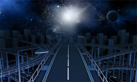 road landscape - 3D Render of futuristic freeway in the city with space sky Stock Photo - Budget Royalty-Free & Subscription, Code: 400-08287806