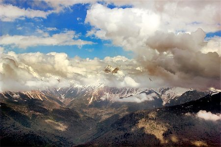 franxyz - Mountain Peak with mist and clouds landscape, russia, sochi Stock Photo - Budget Royalty-Free & Subscription, Code: 400-08287945