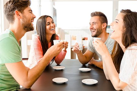 Friends having a great day at the local coffee shop Stock Photo - Budget Royalty-Free & Subscription, Code: 400-08289239